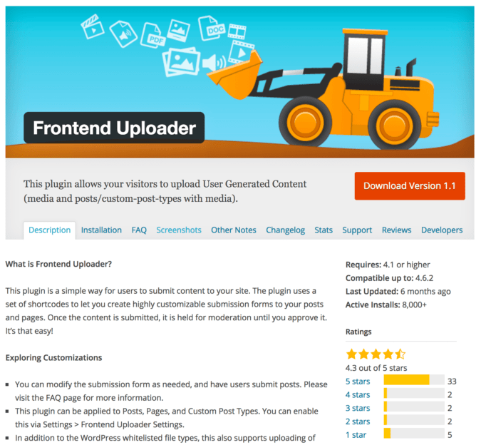 Frontend Uploader Plugin